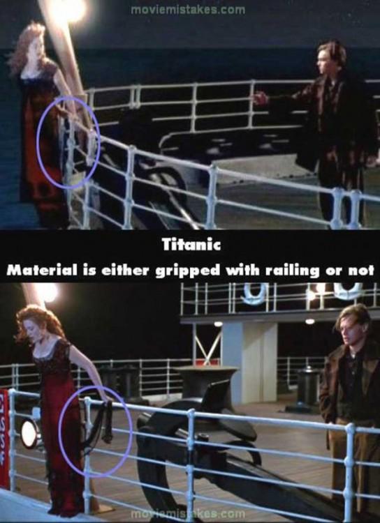Error de la película del titanic donde Rose se esta sosteniendo con un lazo negro
