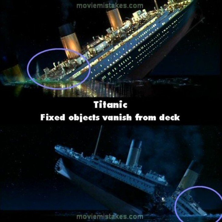 Errores de la película Titanic donde de una escena a otra desaparecen objetos