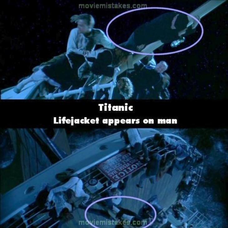 Errores de la película el Titanic de un hombre que aparece con un salvavidas en otra escena