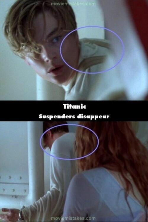 Errores de la película del Titanic donde los suspensores del pantalón de Jack desaparecen
