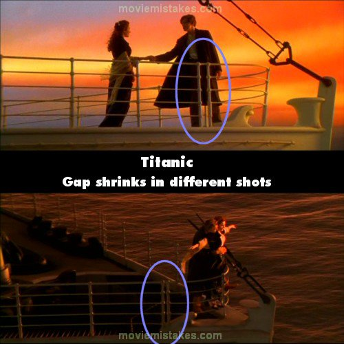 Contraste de la escena del Titanic donde cambia de lugar una barandilla del barco en diferentes escenas