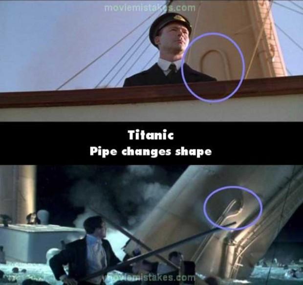 Errores de la película el Titanic donde cambia de forma en su estructura
