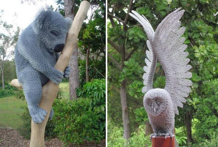 Escultura de animales hechas con alambre