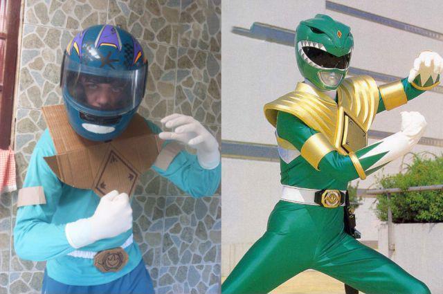 Chico disfrazado del power ranger de color verde