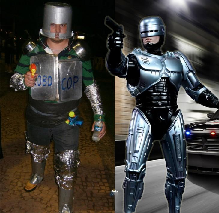 Chico disfrazado de Robocop