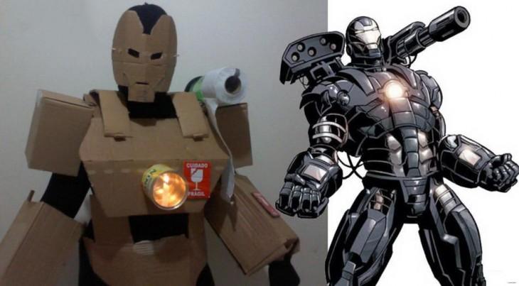 Chico disfrazado del superhéroe War Machine