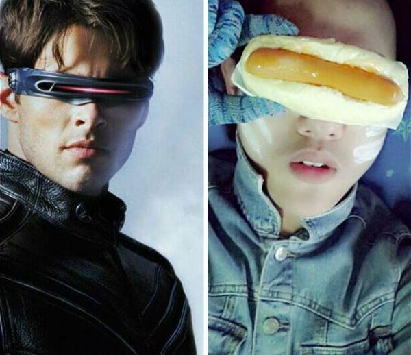 Imagen de ciclope con un chico que tiene un hotdog en los ojos simulando ser ciclons