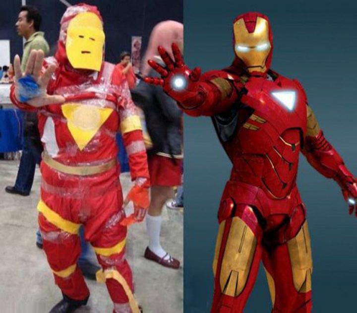 Persona disfrazada de Iron Man con un dibujo de Iron Man a un costado