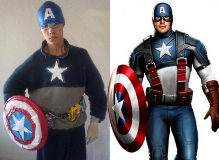 Chico en una imagen donde esta disfrazado del capitán américa