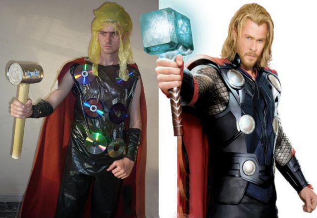 Comparación de un chico disfrazo de Thor con una imagen de Thor
