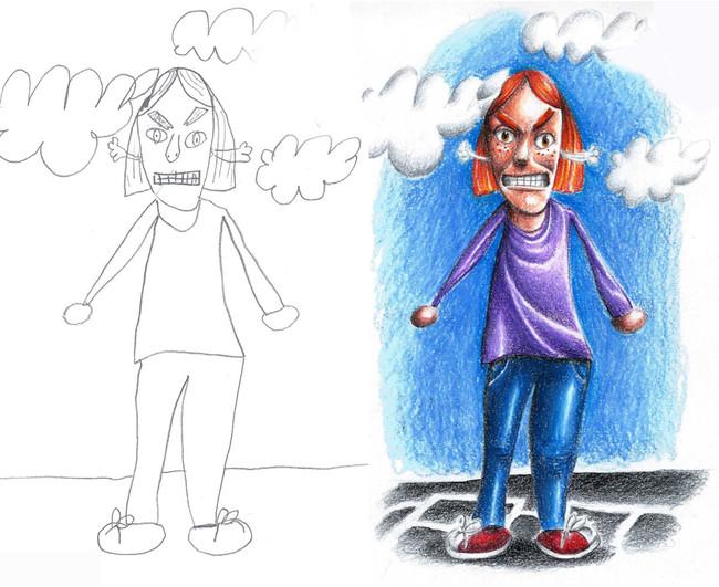 dibujo de una madre enojada
