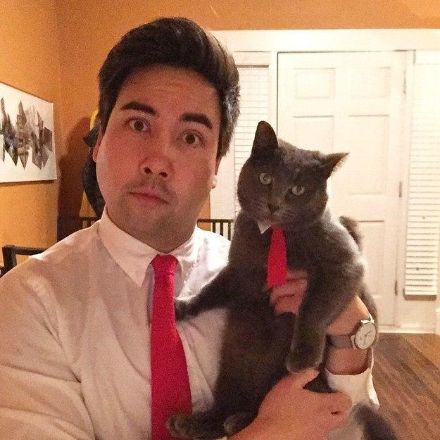 Gato y un chico con corbatas iguales de color rojo