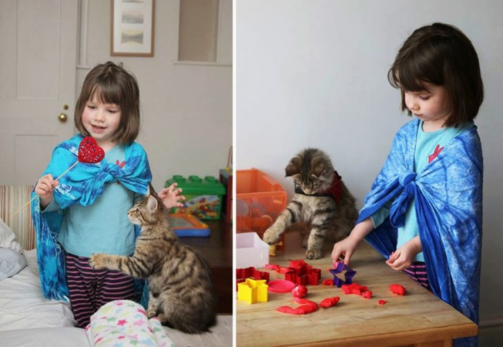 imagen de una niña jugando junto a su gato
