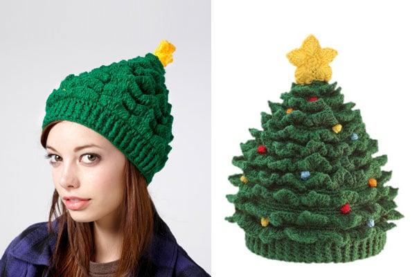 Gorro con forma de árbol de navidad