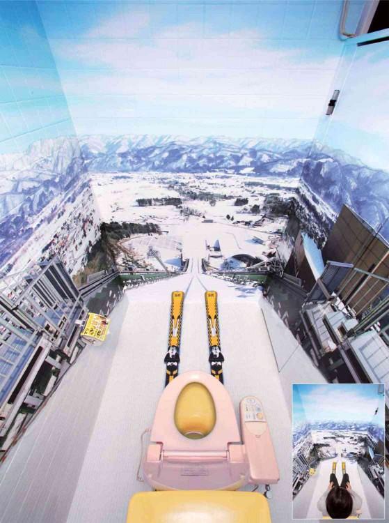 Los baños con  esquiés y nieve artificial