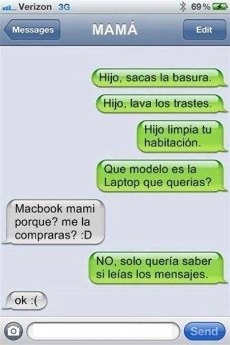 Conversación de mensajes con mamá