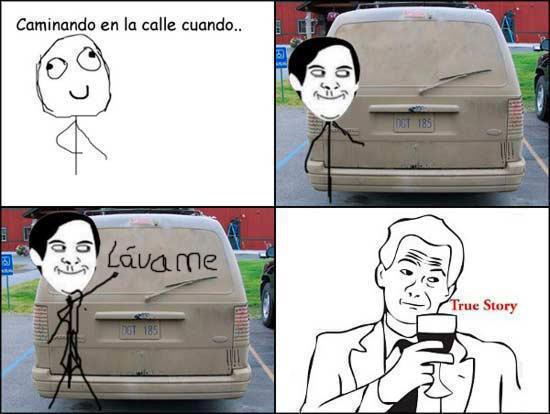 Meme escribiendo lavame en el parabrisas de un auto sucio