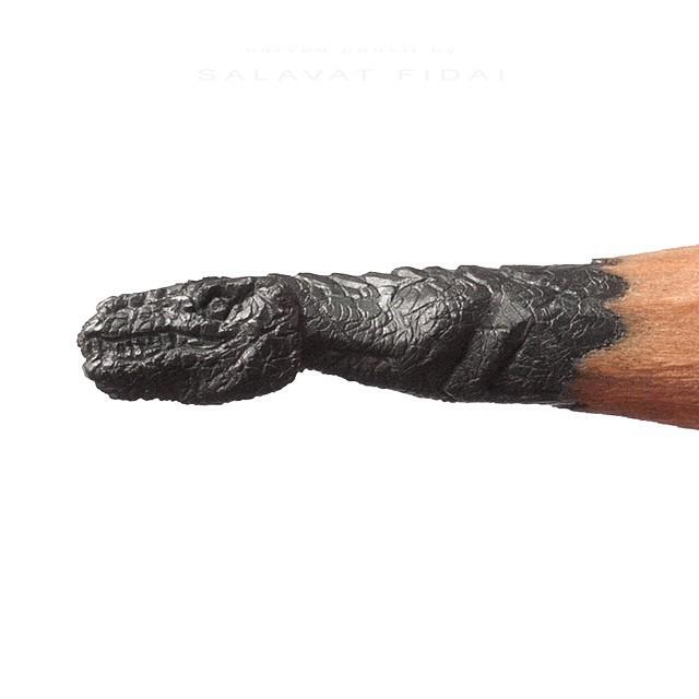 Punta de un lápiz con la forma de un tiranosaurio Rex