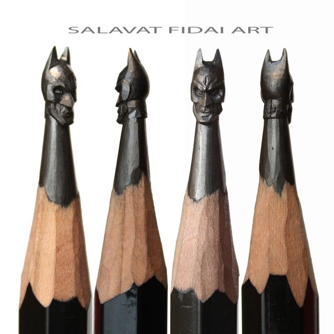Puntas de lápices con la cara de Batman