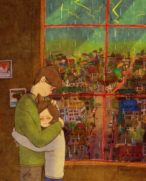 Ilustración de Puuung donde la pareja esta abrazada frente a la ventana