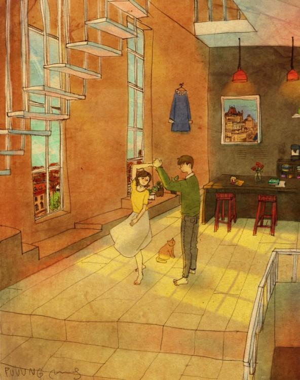 Ilustración de puuung donde la pareja baila en su casa
