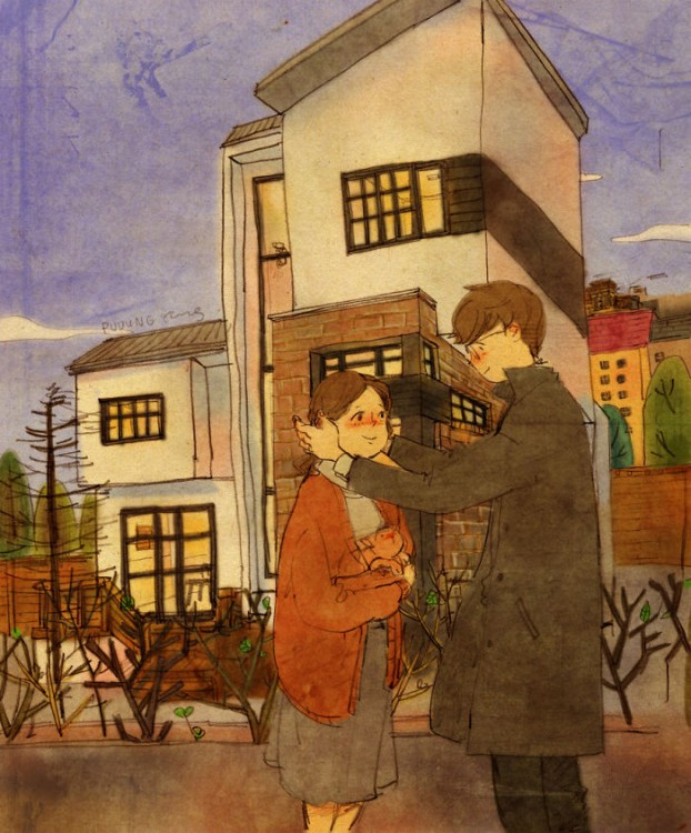 ilustración de puuung con las pequeñas cosas en el amor