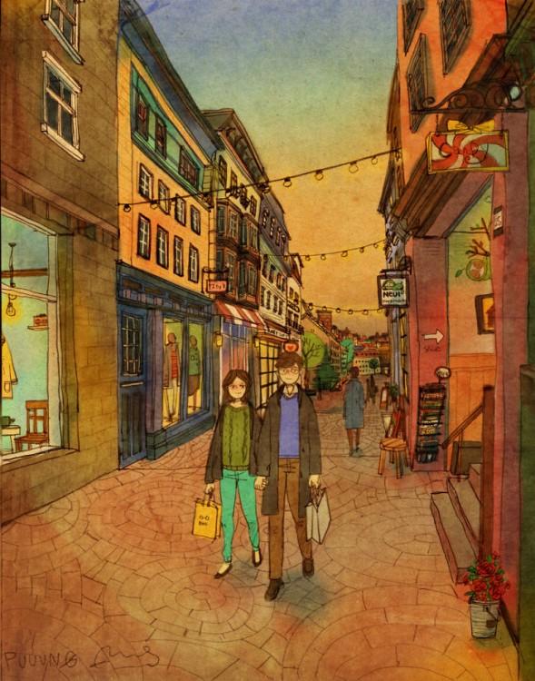 Ilustración de puuung donde muestra una pareja caminando por la calle