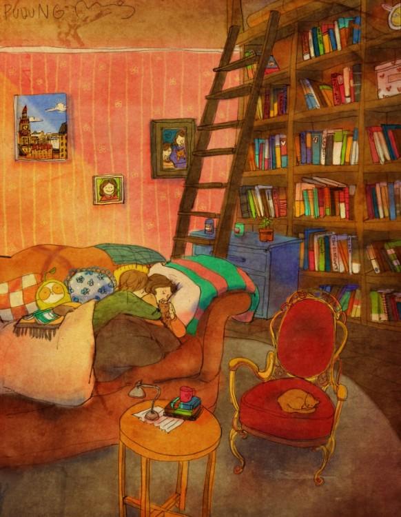 Ilustración de Puuung donde la pareja duerme abrazada en su habitación