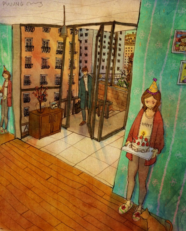 Ilustración de puuung donde la chica le dará una sorpresa a su chico