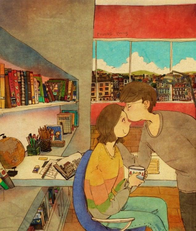 Ilustración de Puuung donde el chico besa en la frente a su chica