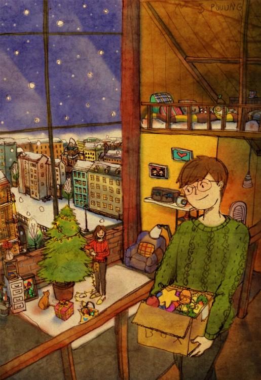 Ilustración de puuung de pequeñas cosas en el amor