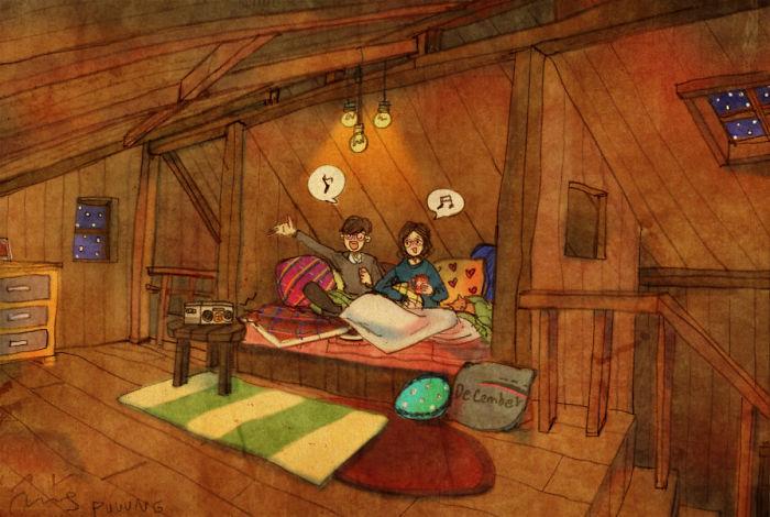 Ilustración de puuung donde la pareja esta cantando