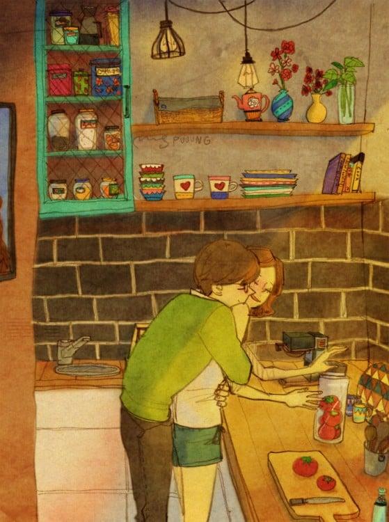 Ilustración de puuung de una pareja abrazada en la cocina