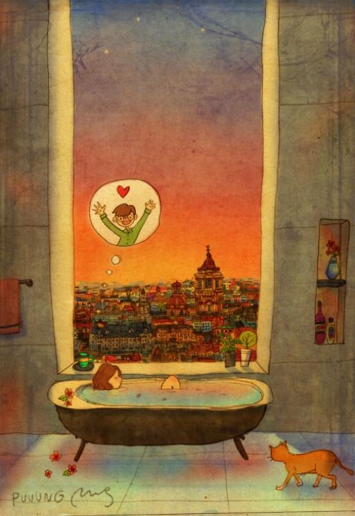 Ilustración de puuung donde muestra a una chica en la tina pensando en su chico