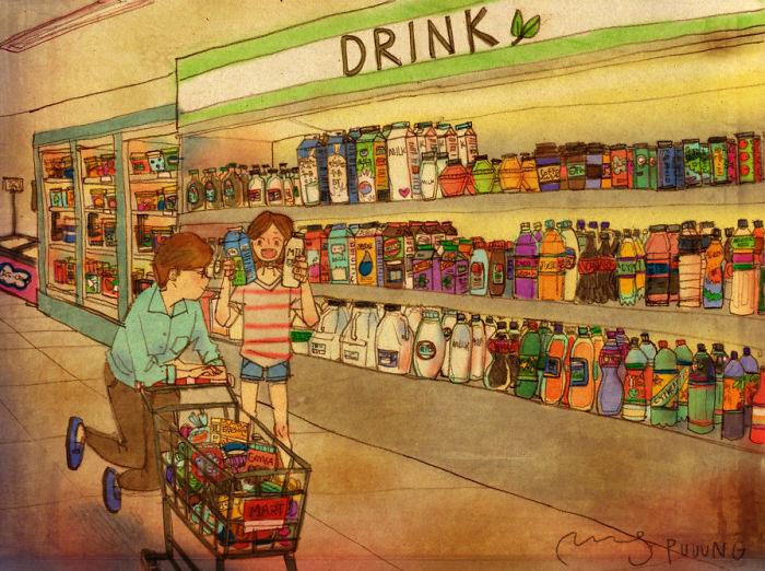 Ilustración de puuung de una pareja en el centro comercial