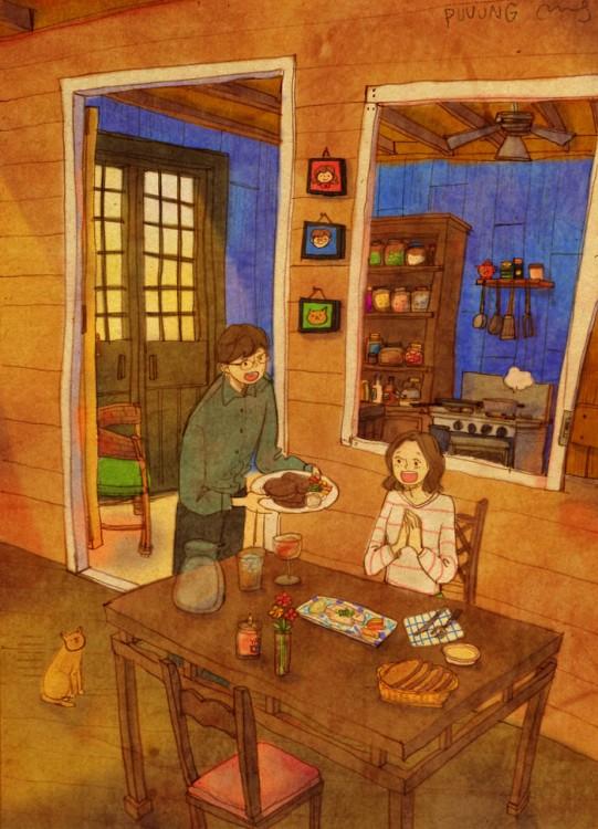 Ilustración de puuung donde el chico le prepara la comida a su chica
