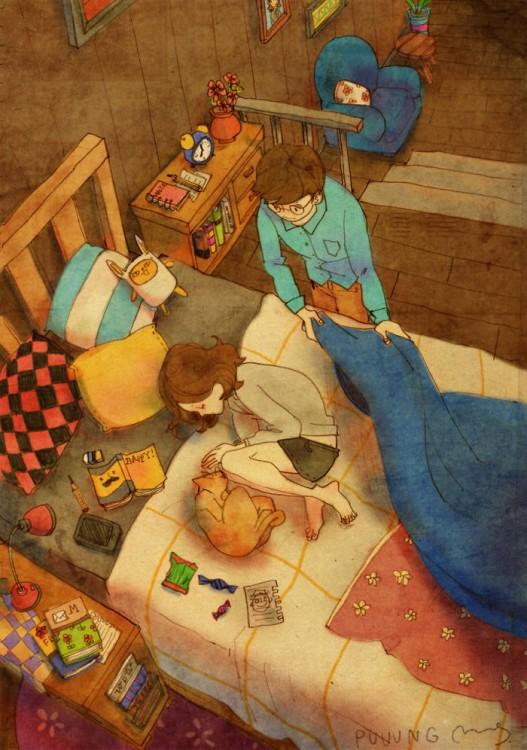 Ilustración de puuung donde el chico esta cobijando a su chica en la cama
