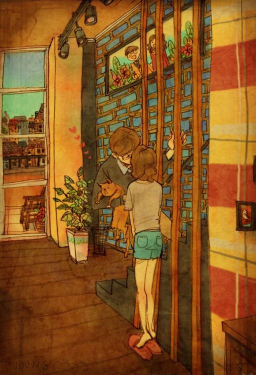 Ilustración de puuung acerca de las pequeñas cosas en el amor