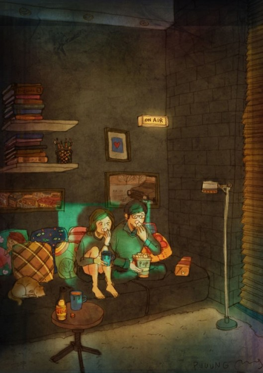 ilustración de Puuung donde la pareja esta viendo televisión y come palomitas