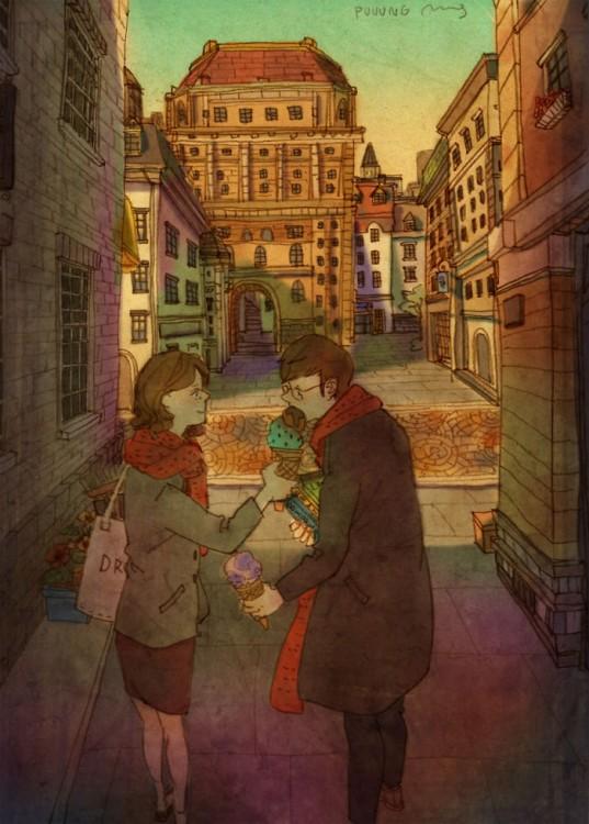 Ilustración de puuung donde la pareja esta compartiendo helado en la calle