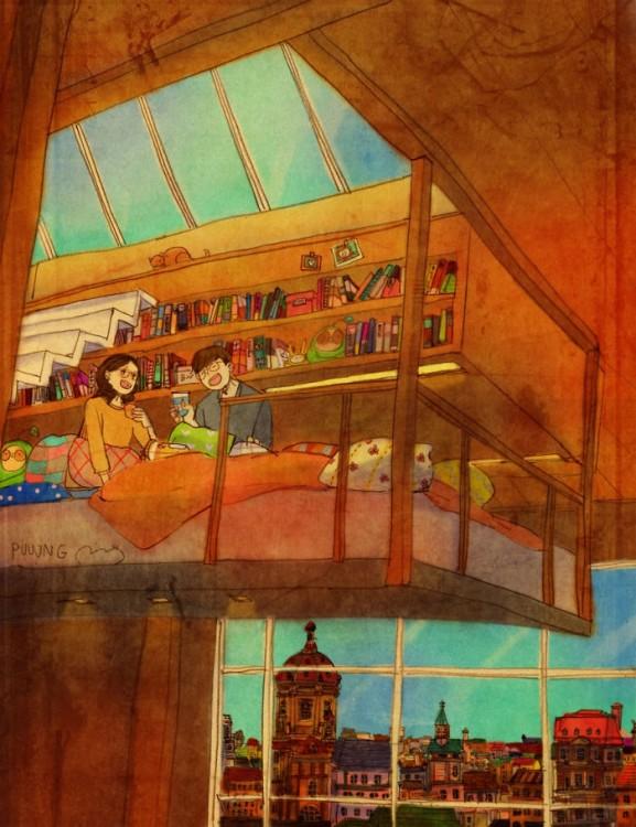ilustración de puuung donde muestra una pareja tomando café en una cama