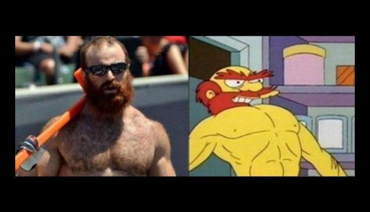 Persona parecido a Willie personaje de los Simpsons