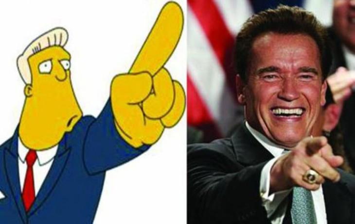 Personajes de los simpsons Rainier Wolfcastle parecido a Arnold Schwarzenegger