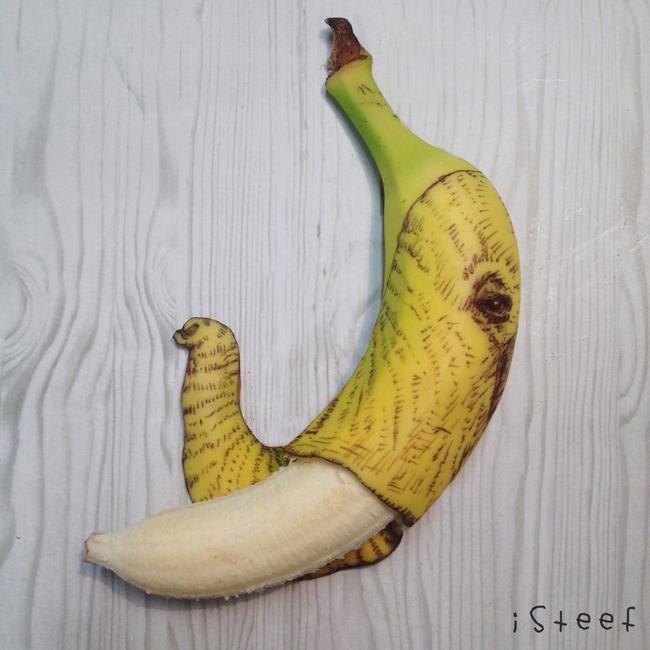 Plátano con dibujo que simula ser un elefante