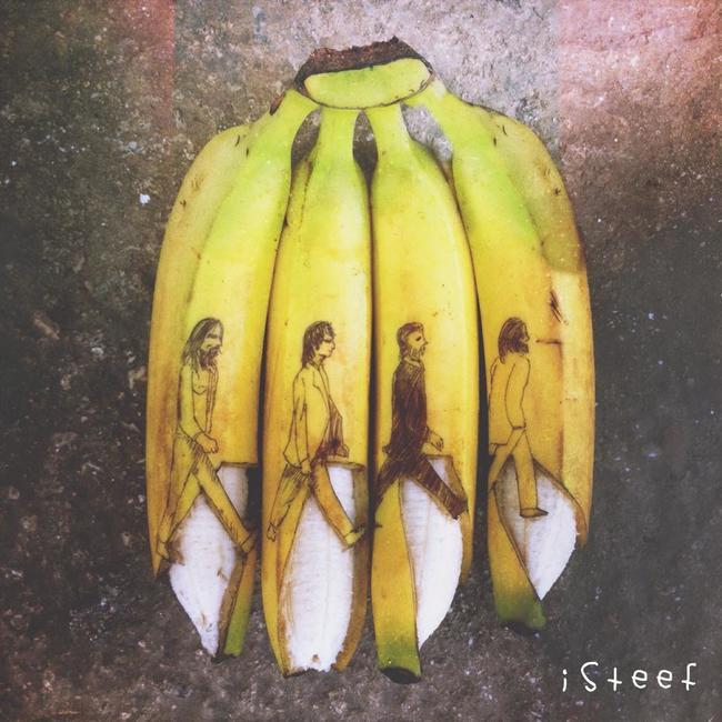 Plátanos con la portada de Abbey Road de los Beatles