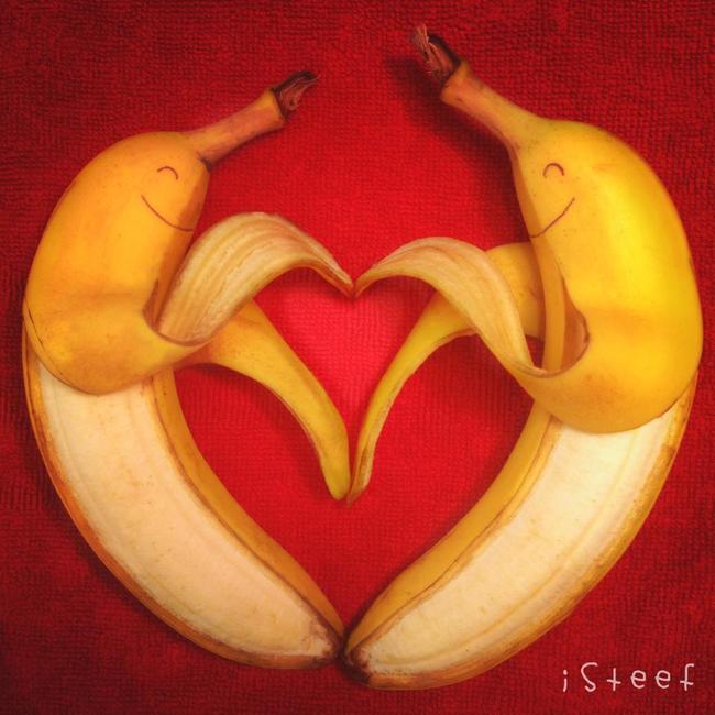 Dos plátanos formando un corazón
