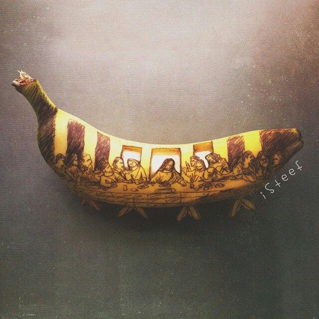 Plátano con el dibujo de la última cena