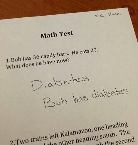 Respuesta dentro de un examen de matemáticas