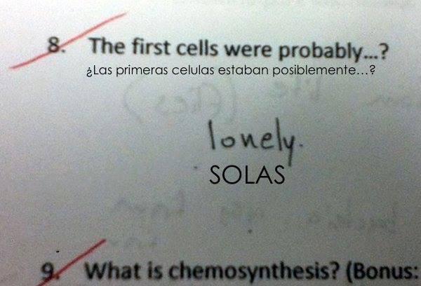 Fotografía de las respuestas de un examen de biología