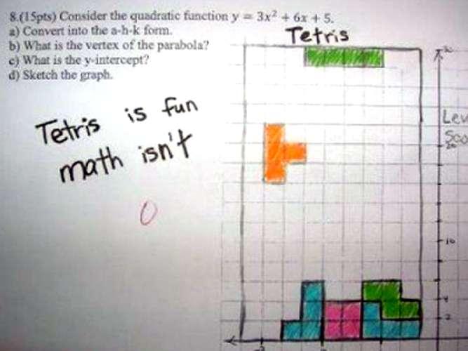 Respuesta graciosa en un examen de matemáticas con las figuras de tetris
